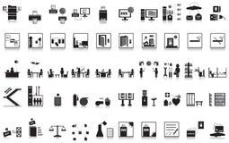 Büro mit 50 Ikonen Stockbilder