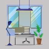 Büro mit dem Schreibtisch und Zubehör flach arbeiten stock abbildung