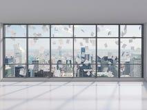 Büro mit großem Fenster Stockfotos