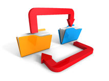 Büro-Ordner-Überweisungsdaten-Pfeil auf weißem Hintergrund Stockfotos