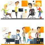 Büro Team Two Illustrations Set Stockfotografie