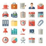 Büro und flache Ikonen des Geschäfts für Netz, beweglich Lizenzfreies Stockbild