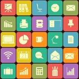 Büro und flache Ikonen des Geschäfts für Netz und Mobile Stockfotografie