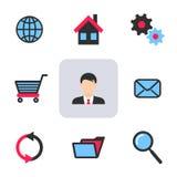 Büro- und Netzikonen Lizenzfreie Stockfotos