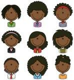 Büroangestellt-afro-amerikanischer weiblicher Avatara Stockbilder