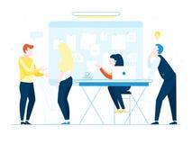 Büroangestellte auf weißem Hintergrund Co-Arbeiter, der Ideen bespricht Vector Illustration des Geschäftstreffens, Teamwork, coll Stockfotos