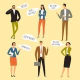 Büroangestellte mit Spracheblasensatz lizenzfreie stockbilder