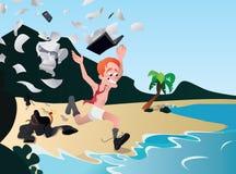 Büroangestellter lief weg im Urlaub, Rest von der Arbeit, langerwartet Lizenzfreie Abbildung