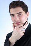 Büroangestellter mit Feder Lizenzfreie Stockfotos