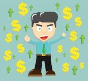 Büroangestellter mit Geld und Pfeil, der für Erfolgskonzept heranwächst stock abbildung