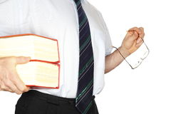 Büroangestellter mit roten Büchern Stockfoto