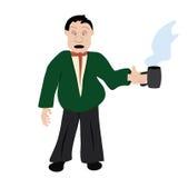 Büroangestellter mit Tasse Kaffee Lizenzfreies Stockbild
