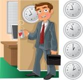 Büroangestellter mit Tasse Tee oder Kaffee Lizenzfreies Stockfoto