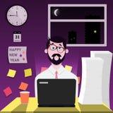 Büroangestellter wird bei der Arbeit über den Silvesterabend verzögert lizenzfreie abbildung