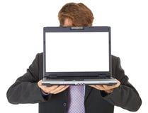 Büroangestellter zeigt Bildschirm Stockbilder