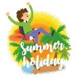 Büroangestelltfliegen auf einem Stuhl zum stillzustehen, Sommerferien, Ferien Lizenzfreie Stockfotos