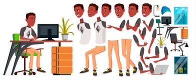 Büroangestelltvektor Animations-Schaffungs-Satz schwarzes afrikanisch Gefühle, Gesten Lebhafte Elemente Büro-Generator lizenzfreie abbildung