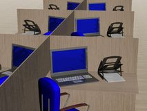 Büroarbeitsplatz. Bild 3D. Lizenzfreie Stockbilder