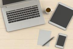 Büroarbeitsplatz der Wiedergabe 3D auf hölzerner Tabelle Lizenzfreie Stockfotografie