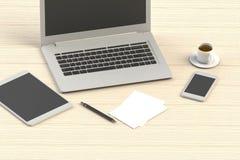 Büroarbeitsplatz der Wiedergabe 3D auf hölzerner Tabelle Stockfoto