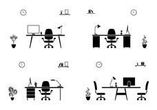 Büroarbeitsplatz-Innenschwarzweiss-Satz Konferenzsaalschattenbild lizenzfreie abbildung