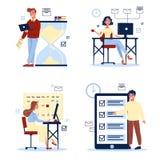Büroarbeitssatz Junge Leute im Büro, das am Schreibtisch sitzt vektor abbildung