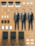 Büroausrüstung bearbeitet Konzept mit Arbeitskräften, Bürozubehör und fu Lizenzfreies Stockfoto