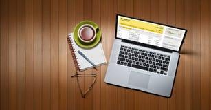 Bürocomputer-Fahnen-Hintergrund Stockfotografie