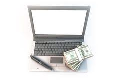 Bürocomputerweißschirm des Konzept-3d abstrakter on-line- Stockbild