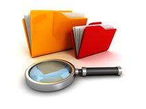 Bürodokumentenpapierordner und -lupe Lizenzfreies Stockfoto