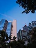Bürogebäude im Finanzbezirk von Frankfurt, Deutschland Stockfoto