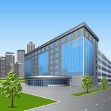 Bürogebäude mit Bäumen und Reflexion Stockbilder