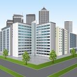 Bürogebäude mit Reflexion auf dem Hintergrund der Straße Lizenzfreies Stockfoto