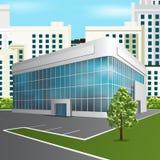 Bürogebäude mit Reflexion auf dem Straßenhintergrund Lizenzfreies Stockfoto