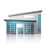 Bürogebäude und der Eingang mit Reflexion Stockbilder