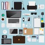 Bürogegenstandkonzepthintergrund-Vektordesign des flachen Designs modernes Lizenzfreies Stockfoto