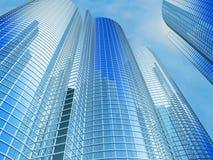 Bürohaus auf einem Hintergrund des blauen Himmels Stockfotografie
