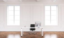 Büroinnenraum mit Arbeitsplatz Stockfotos