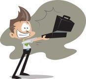 Bürokerl mit Aktenkoffer Stockbild