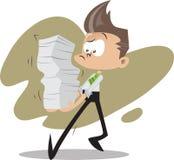 Bürokerl mit Stapeln Dokumenten Lizenzfreie Stockfotos