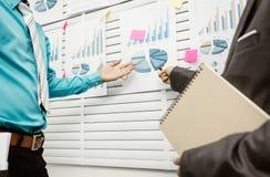 Bürokollegen, welche die Informationsbretter studieren Stockbilder