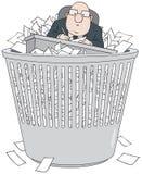 Bürokrat im wastepaper Korb lizenzfreie abbildung