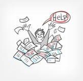 Bürokratievektorillustrations-Konzeptdokumenten-Skizzengekritzel lizenzfreie abbildung