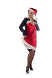 Büromädchen versucht auf Kleid des neuen Jahres Stockfotografie