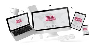 Büromaterial und -geräte, die mit digitalem Marketing schwimmen vektor abbildung