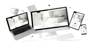 Büromaterial und -geräte, die mit großartiger Hotelwebsite schwimmen stock abbildung