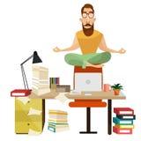 Büromeditationskonzept-Vektorillustration stock abbildung
