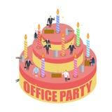Büropartei Kuchen und Manager Feiertag bei der Arbeit Geschäftsmann an vektor abbildung