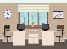 Bürorauminnenraum einschließlich zwei Arbeitsplätze mit Möbeln, Winterlandschaft außerhalb des Fensters Lizenzfreie Stockbilder