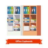 Büroschränke voll von Ringmappen und -papieren Lizenzfreie Stockfotos